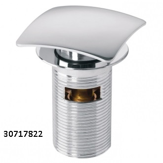 Square Quick Clac Chrome Brass Basin Waste with Overflow