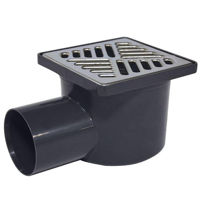 abs drain horizontal outlet dia 50mm c w inox square trait