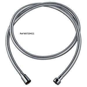 60720422.METAL POWER PLUS NF, flexible de douche en inox chromé, collection essential