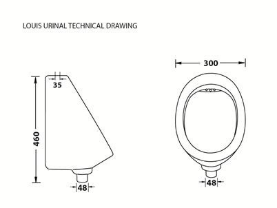 Louis White Wall Mounted Urinal Incl Installation Kit